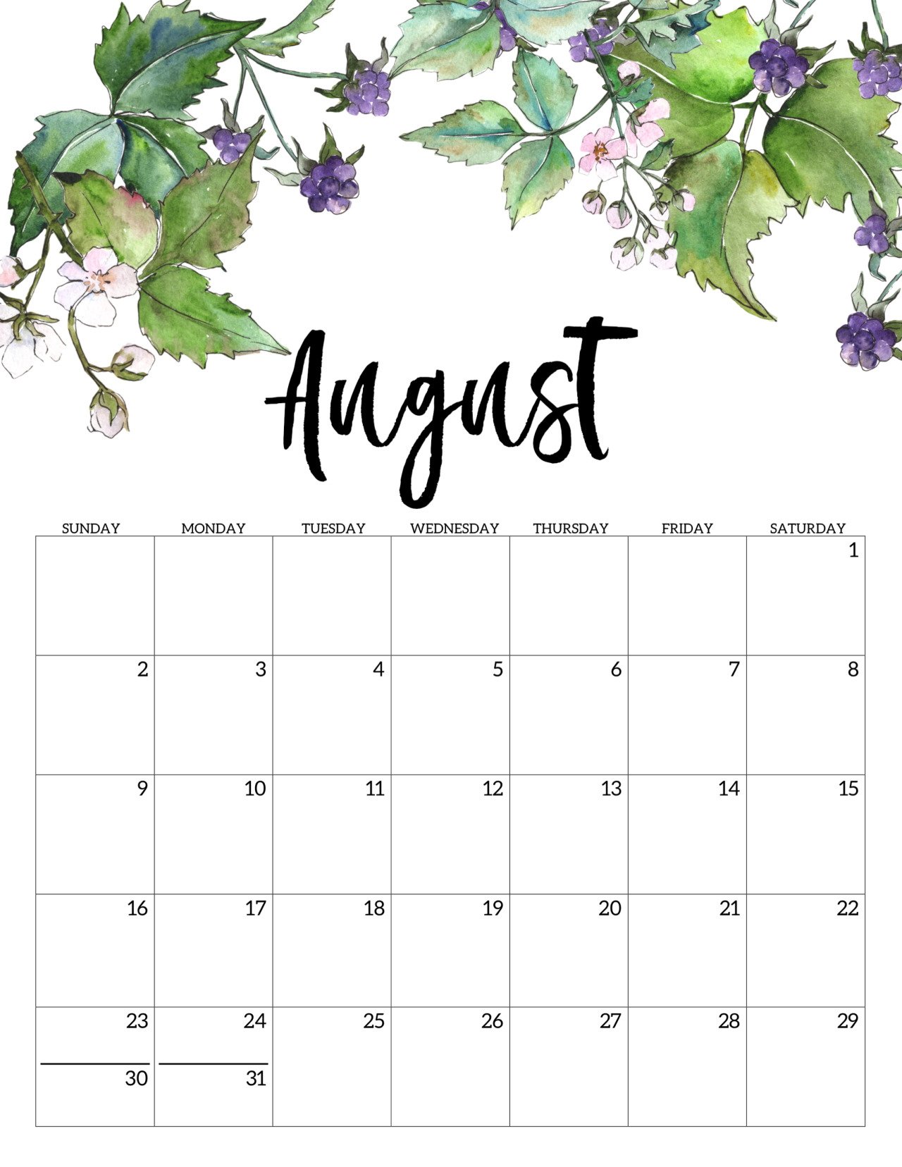 Monthly Printable Calenar