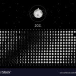 Moon Calendar 2021 Northern Hemisphere Black Vector Image