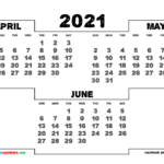 Printable April May June 2021 Calendar | 3 Month Calendar In