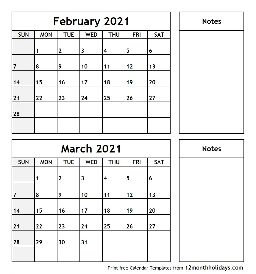 Printable Blank Two Month Calendar February March 2021 Template