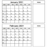Printable Blank Two Month Calendar January February 2021