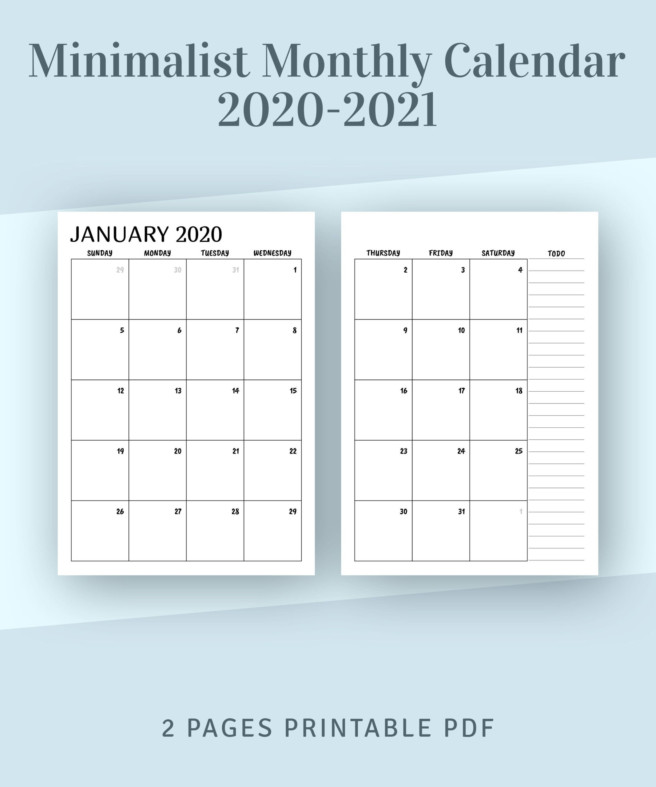 Printable Calendar Monthly 2021 2022 Month On Two Page