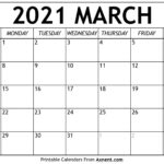 Printable March 2021 Calendar Template - Time Management
