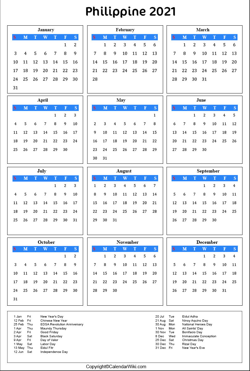 Printable Philippines Calendar 2021 With Holidays [Public