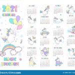 Vector Illustration Child Calendar For 2021 With Cute