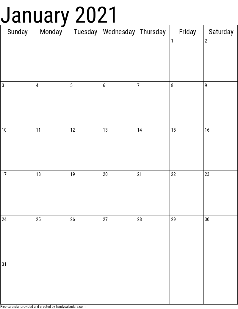 Vertical 2020 Calendar Templates - Handy Calendars