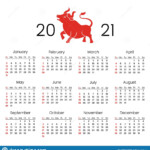 2021 Calendar For The New Year With The Image Of A Ox. Year