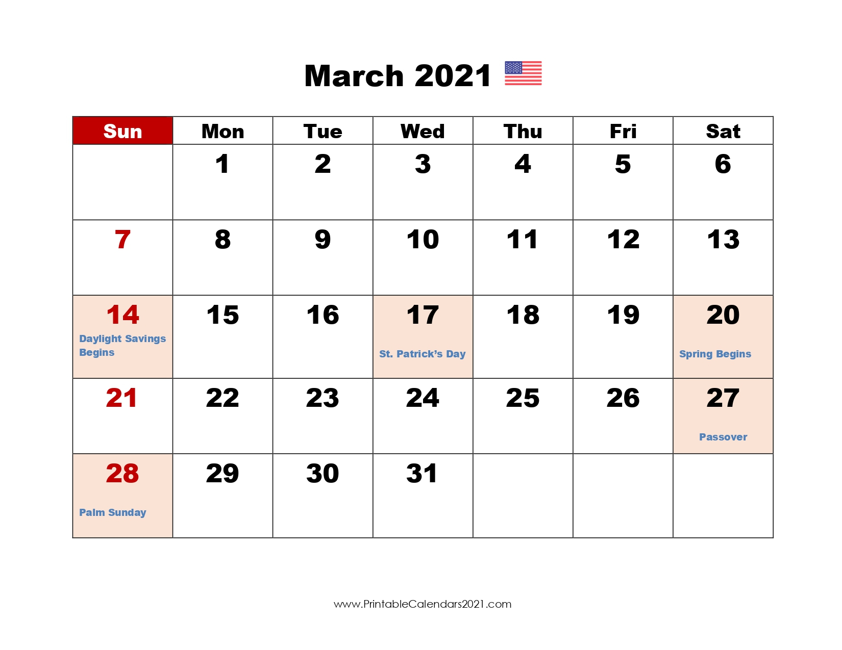 68+ Free March 2021 Calendar Printable With Holidays, Blank, Pdf