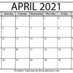 April 2021 Calendar | Blank Printable Monthly Calendars