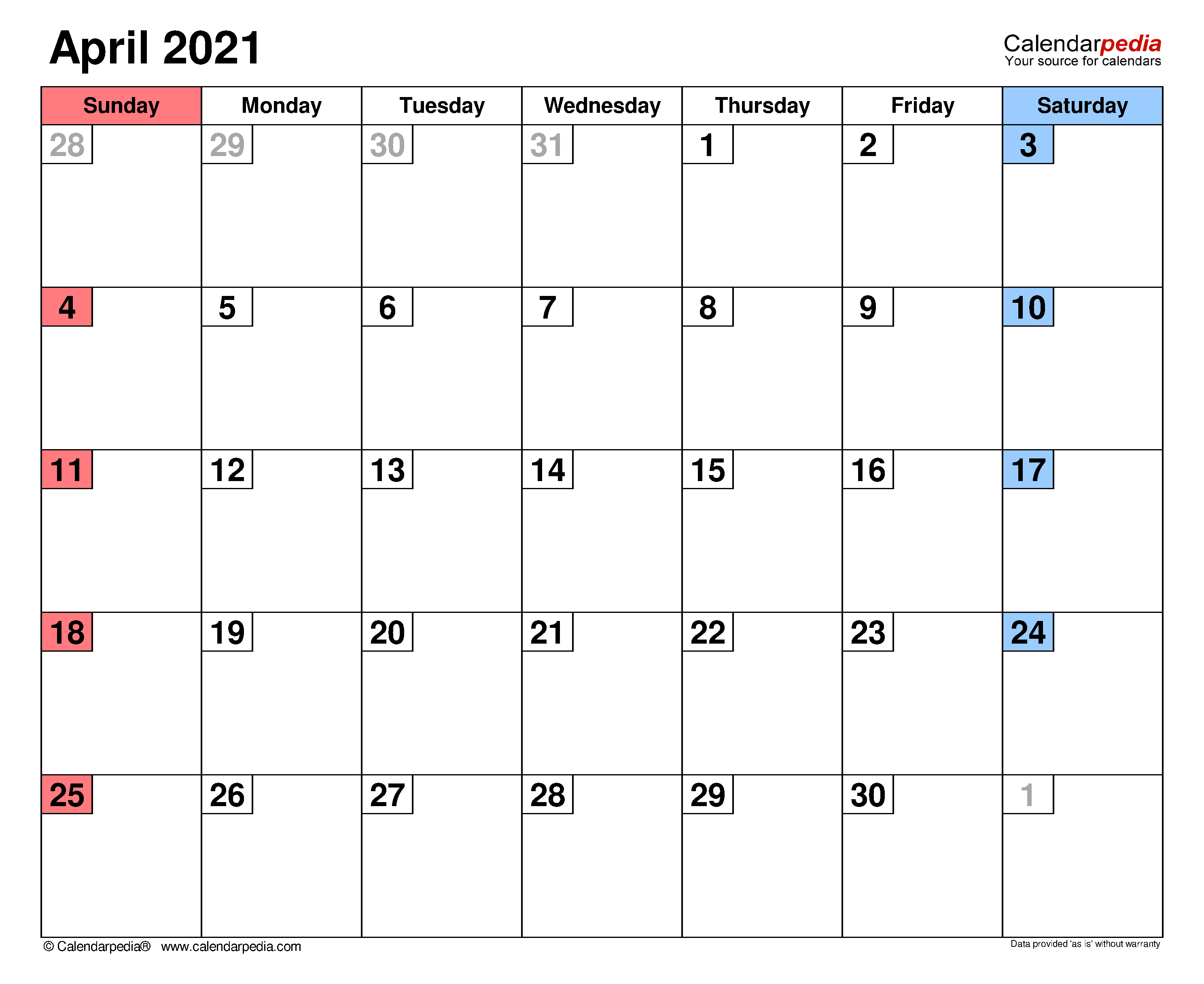 April 2021 Calendar | Templates For Word, Excel And Pdf