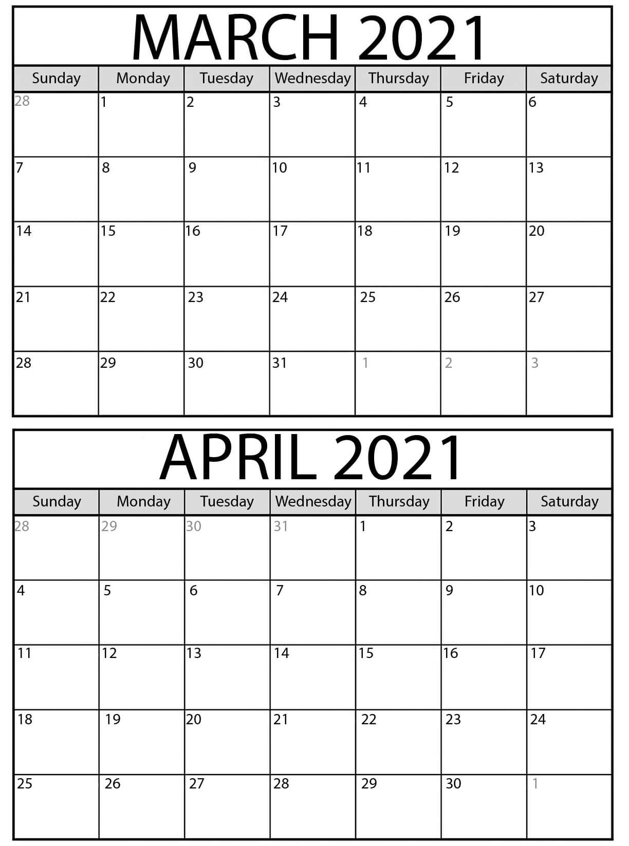 Blank 2021 March April Calendar Big Date With Holidays - Web