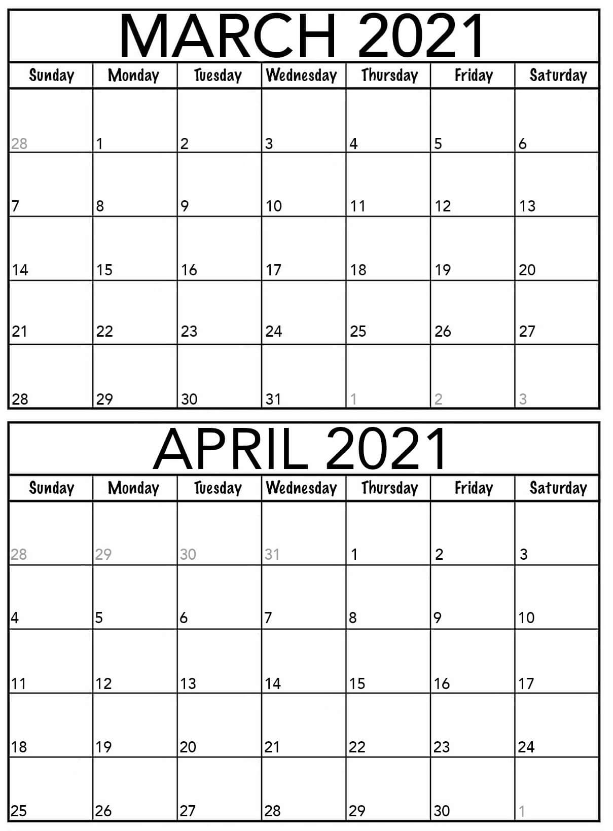 Blank March April 2021 Calendar Word With Notes - Web Galaxy