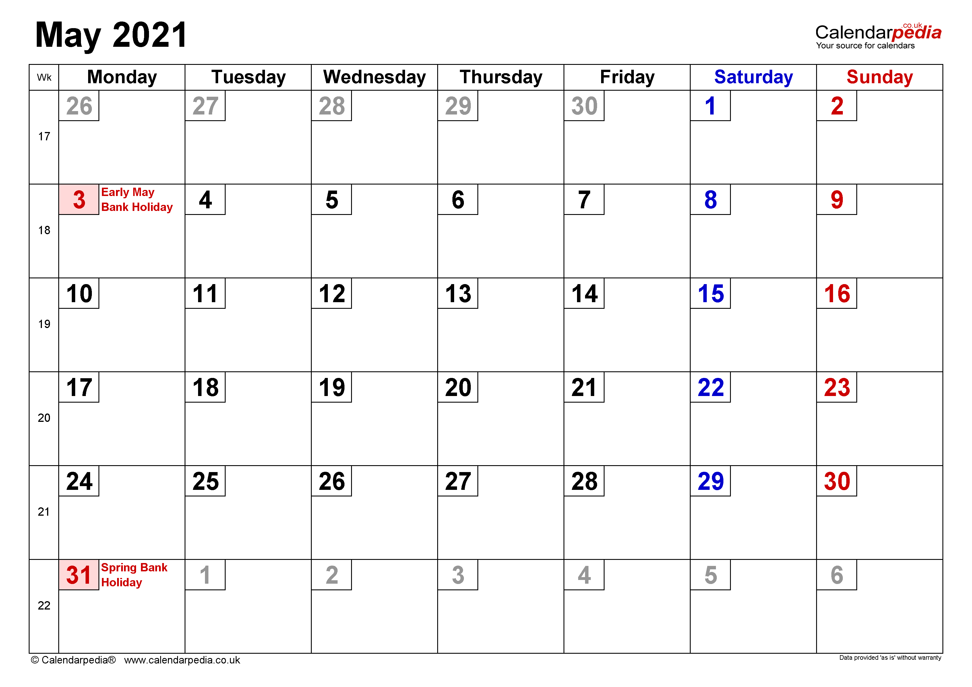 Calendar May 2021 Uk With Excel, Word And Pdf Templates