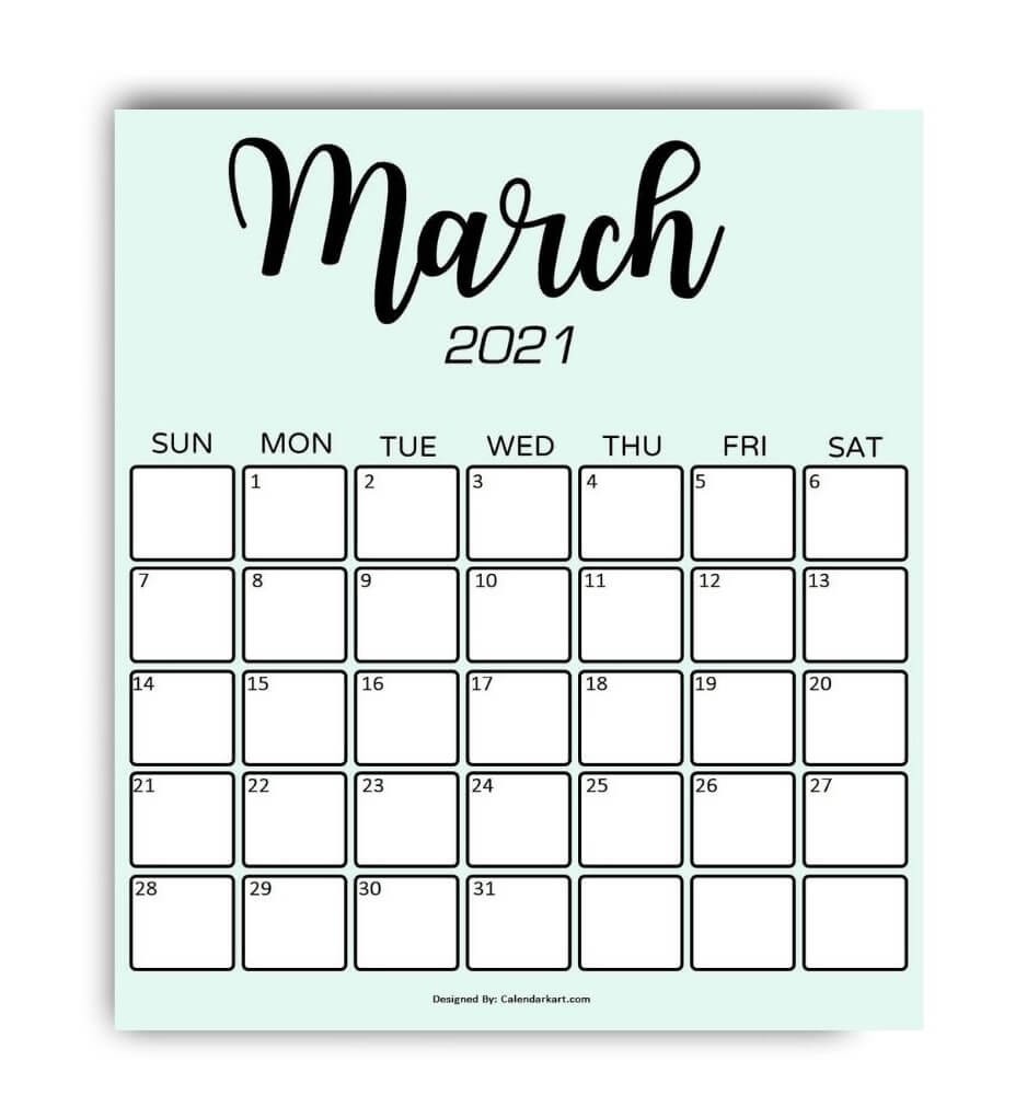 Cute & Stylish Printable March 2021 Calendar: 6 Exclusive