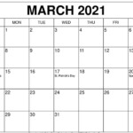 Daily Calendar For March 2021 Template Pdf - Learnworksheet