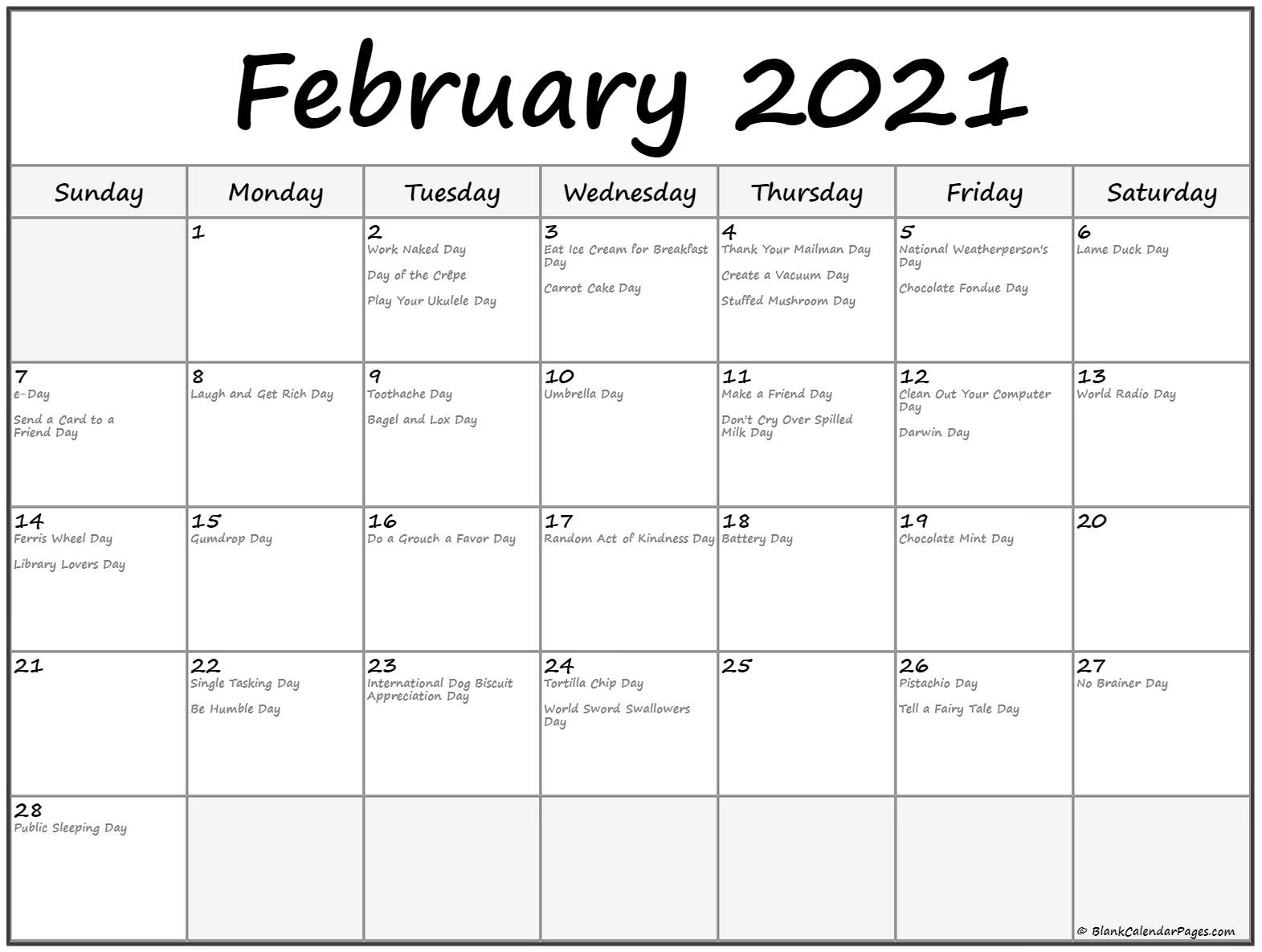 February 2021 Days To Celebrate / Includes 2021 Observances