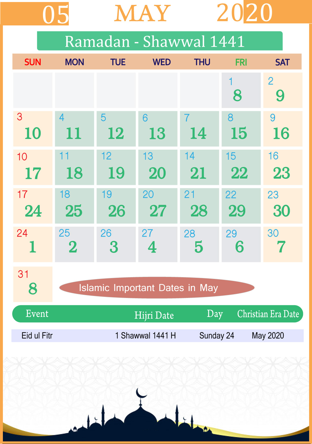 Islamic Calendar May 2020 | Year