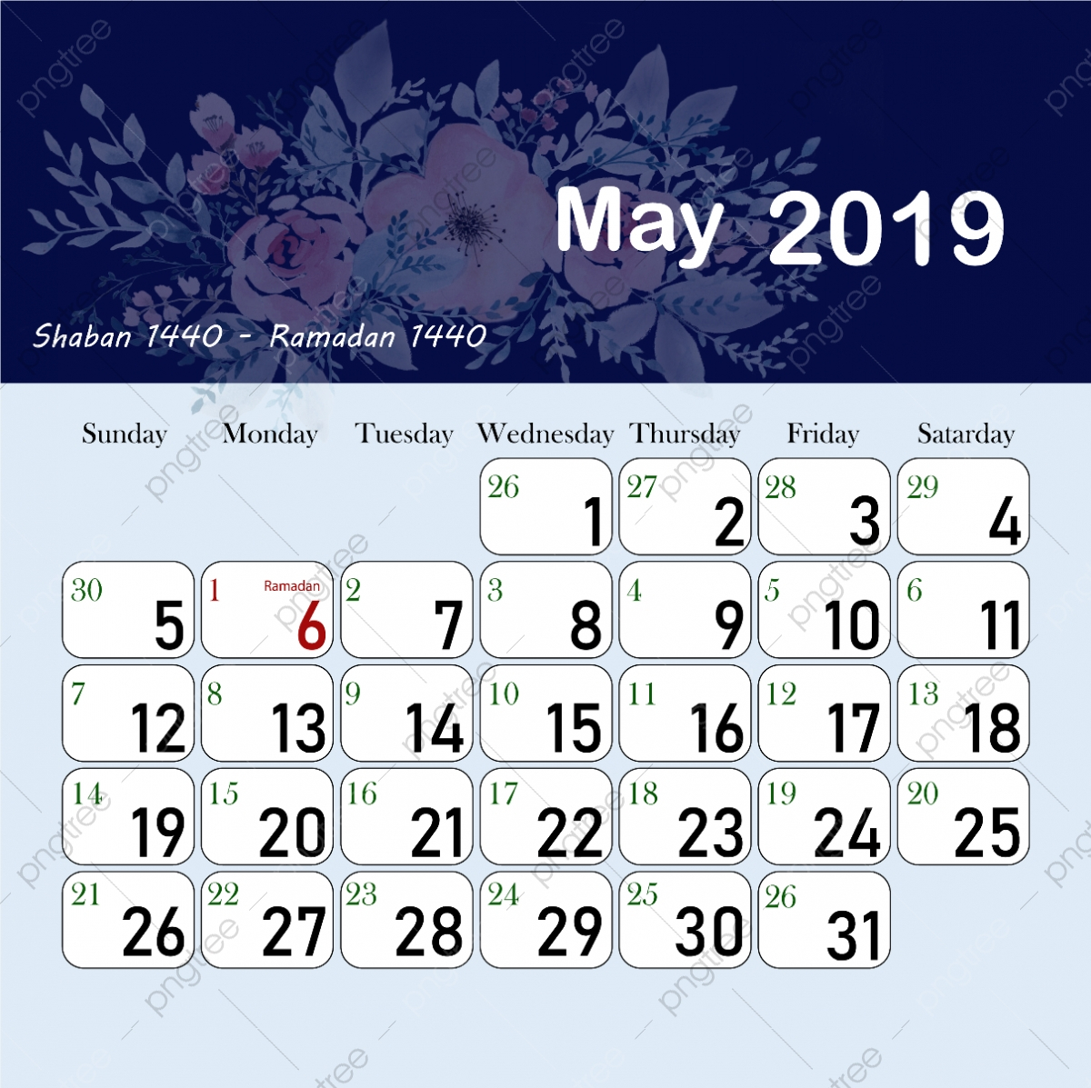 Islamic Hijri Calendar May 1440 2019, May Clipart, 1440