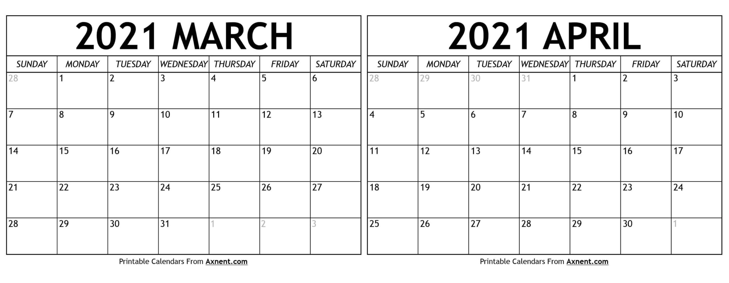 March April 2021 Calendar Templates - Time Management Tools