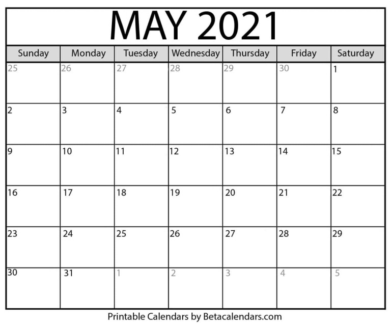 May 2021 Calendar | Blank Printable Monthly Calendars