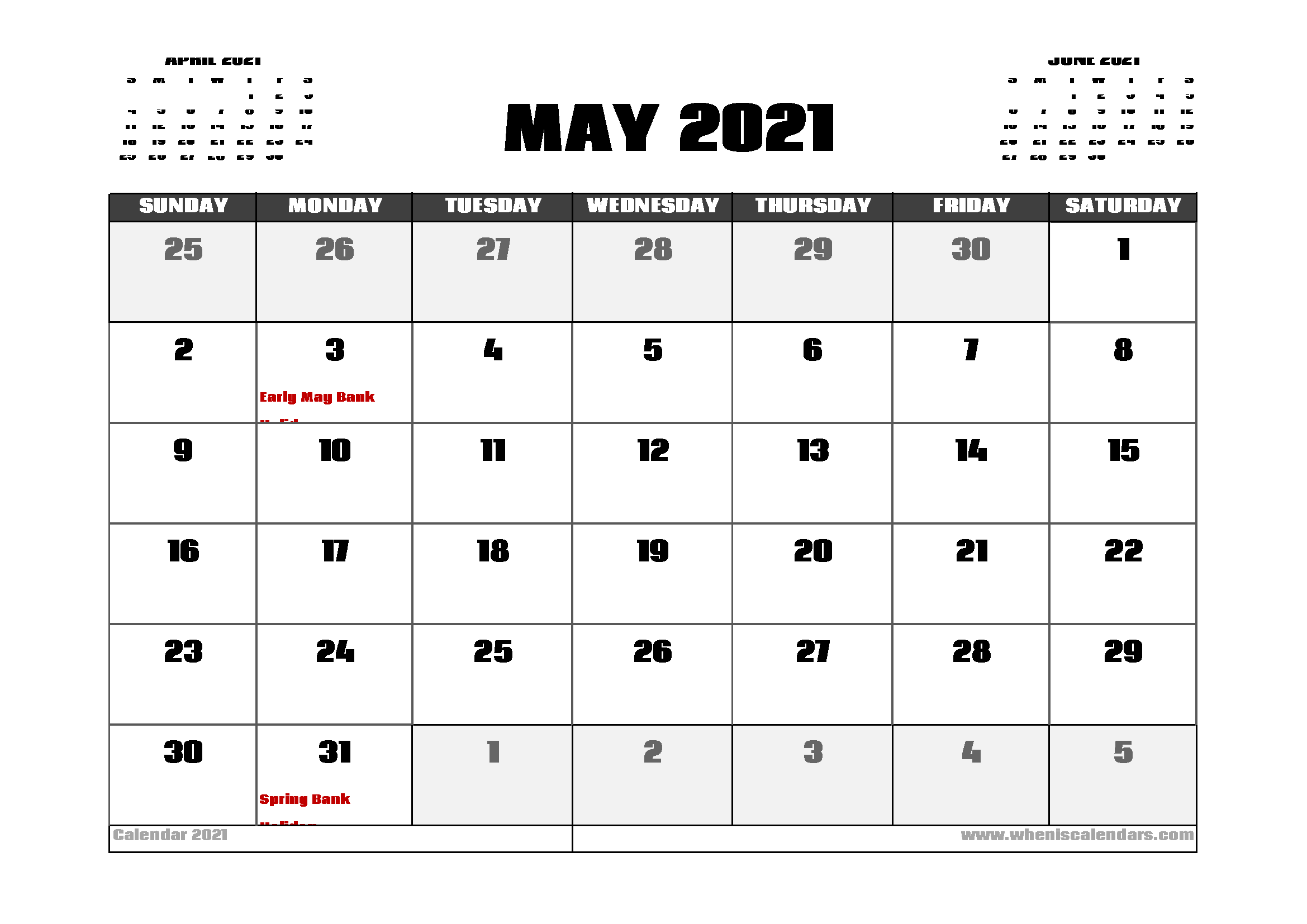 May 2021 Calendar Uk With Holidays | Calendar Uk, 2021