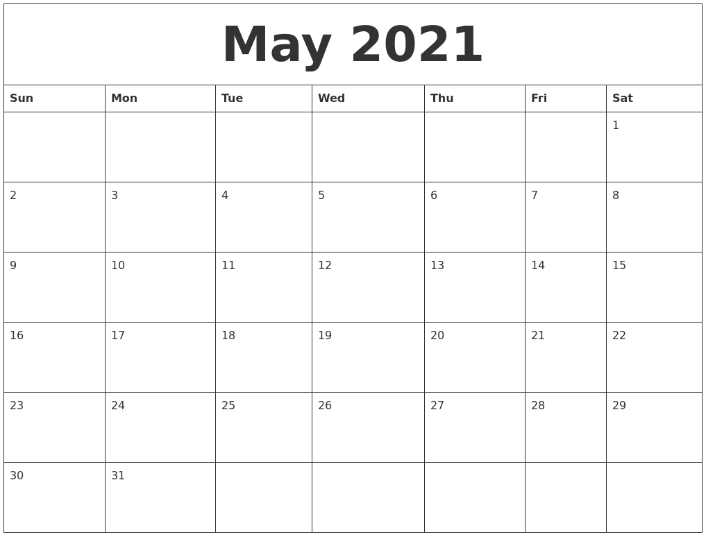 May 2021 Editable Calendar Template