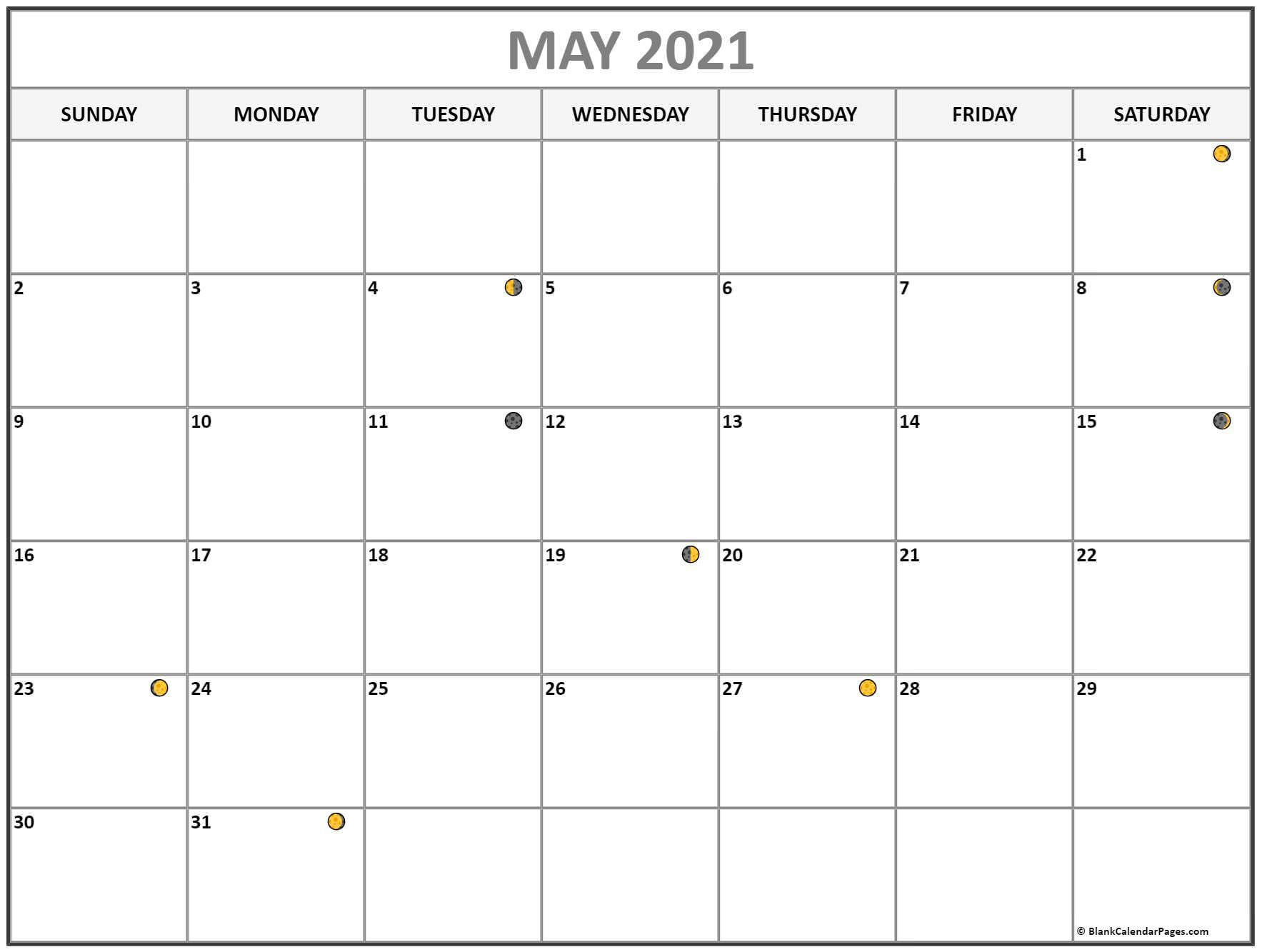 May 2021 Lunar Calendar | Moon Phase Calendar