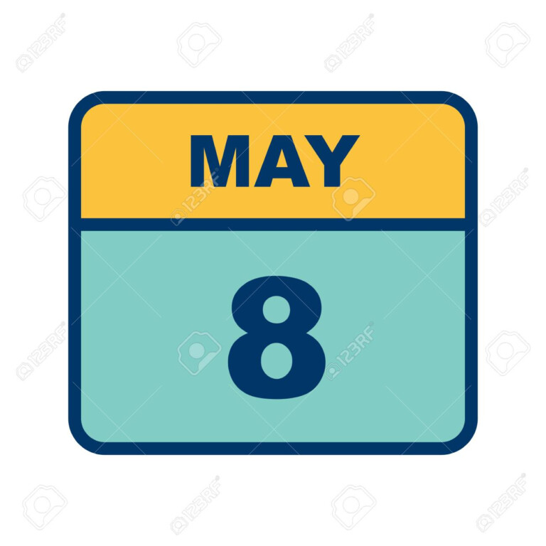 May 8Th Date On A Single Day Calendar