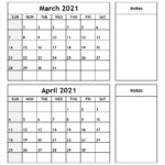 Printable Blank Two Month Calendar March April 2021 Template