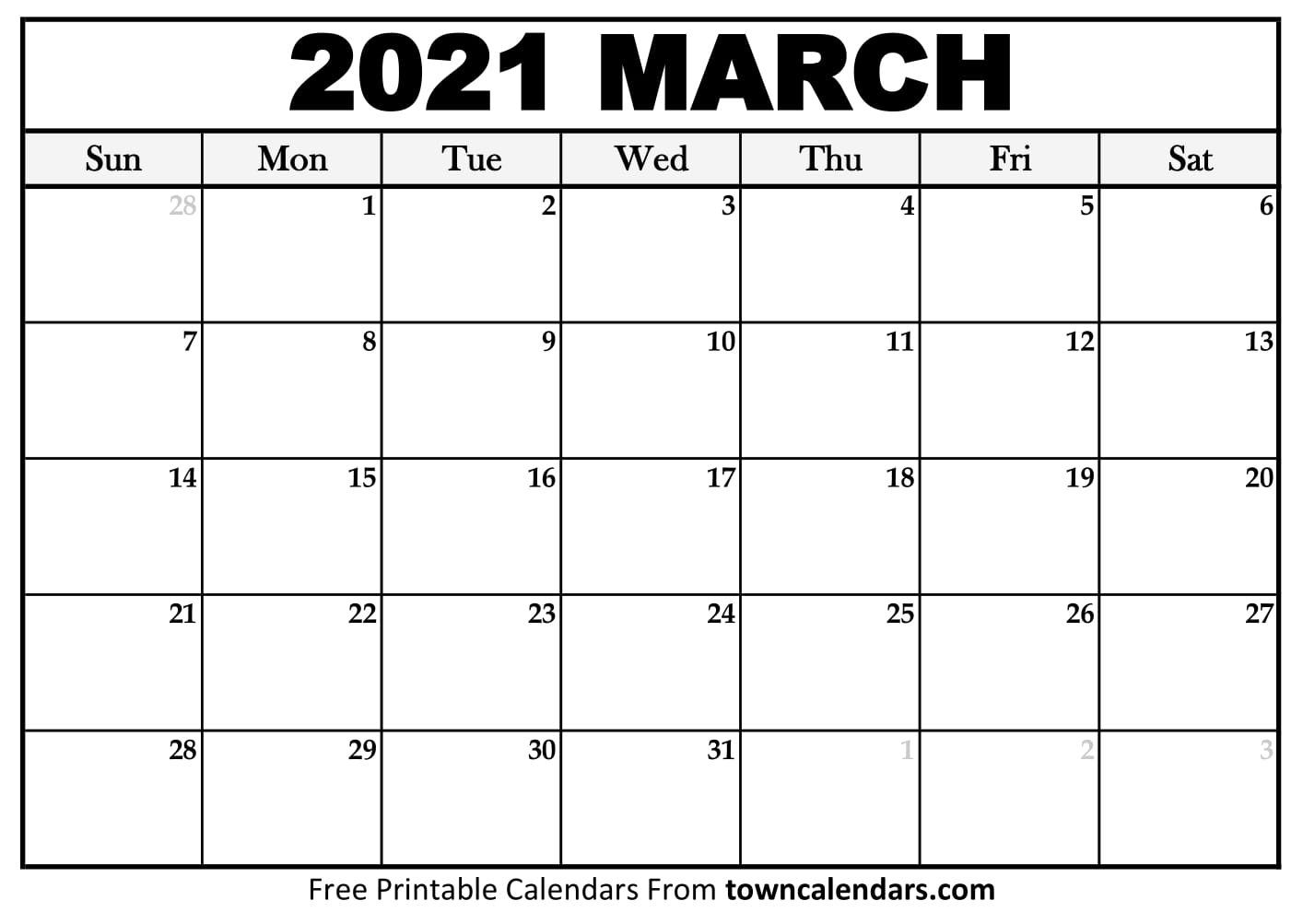 Printable March 2021 Calendar - Towncalendars