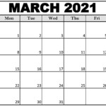 Printable March 2021 Calendar Word Pdf Template - Set Your