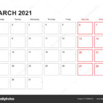 Wall Planner For March 2021 In English Language, Week Starts In Monday.  Vector Calendar 2021. 398944192