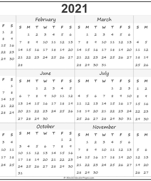 2021 Year Calendar Yearly Printable