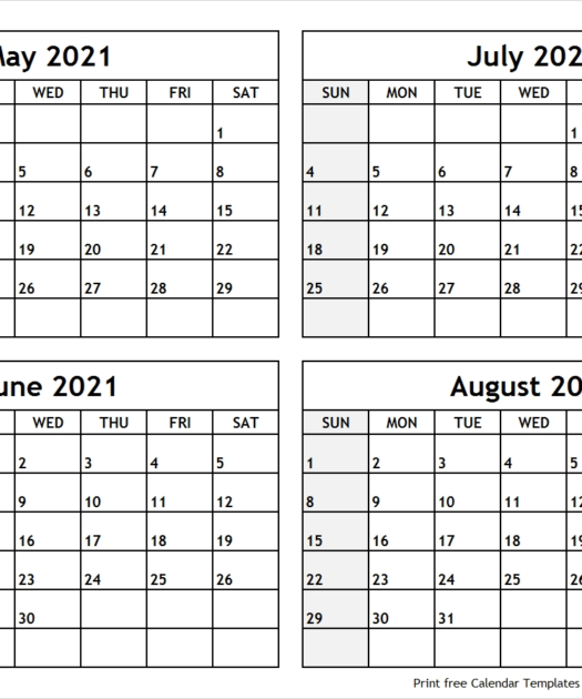 4Mmonth Calendar On One Page 2021 Example Calendar Printable
