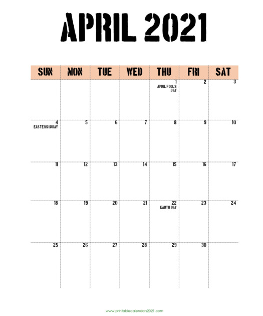 65 April 2021 Calendar Printable With Holidays Blank