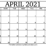 April 2021 Calendar Blank Printable Monthly Calendars