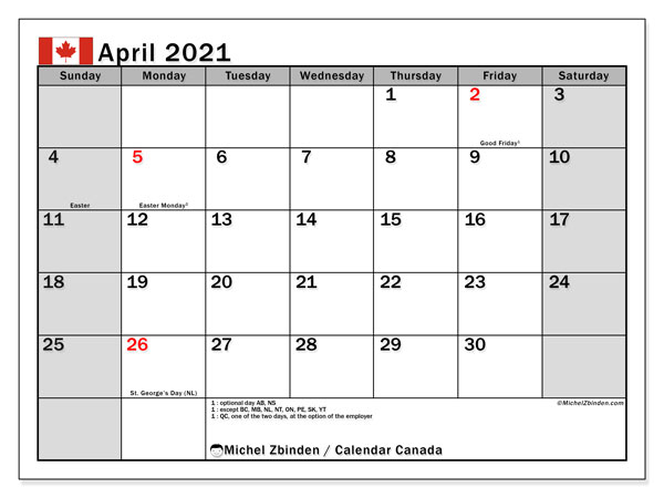 April 2021 Calendar Canada Michel Zbinden EN