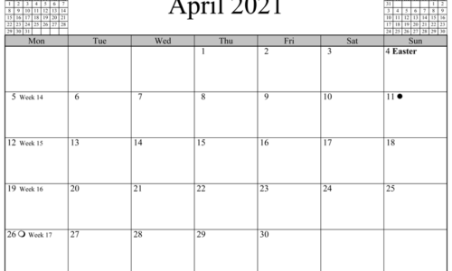 April 2021 Calendar Horizontal Layout