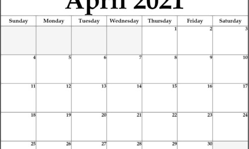 April 2021 Calendar Printable Template In PDF Word Excel