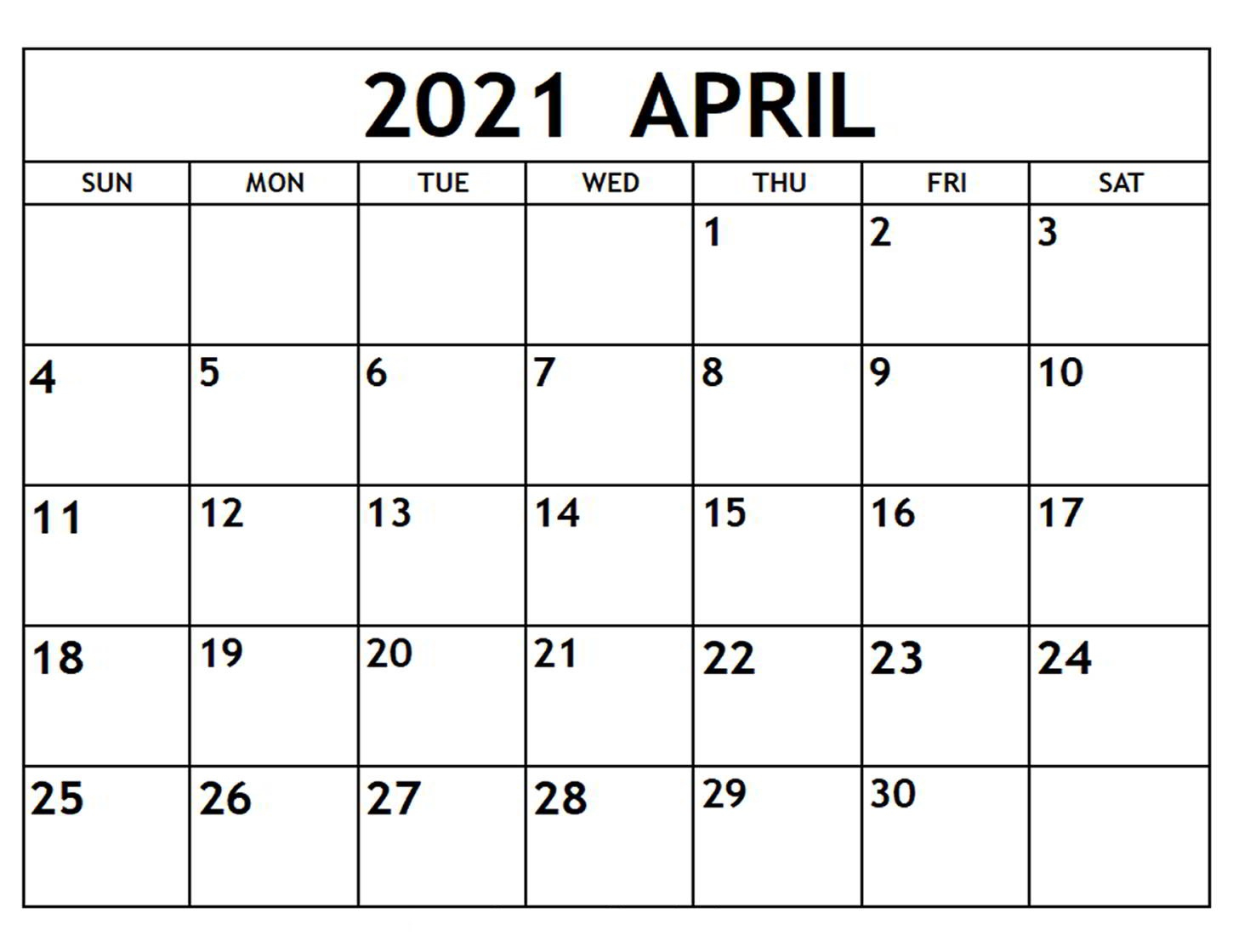 April 2021 Calendar Printable Template Thecalendarpedia