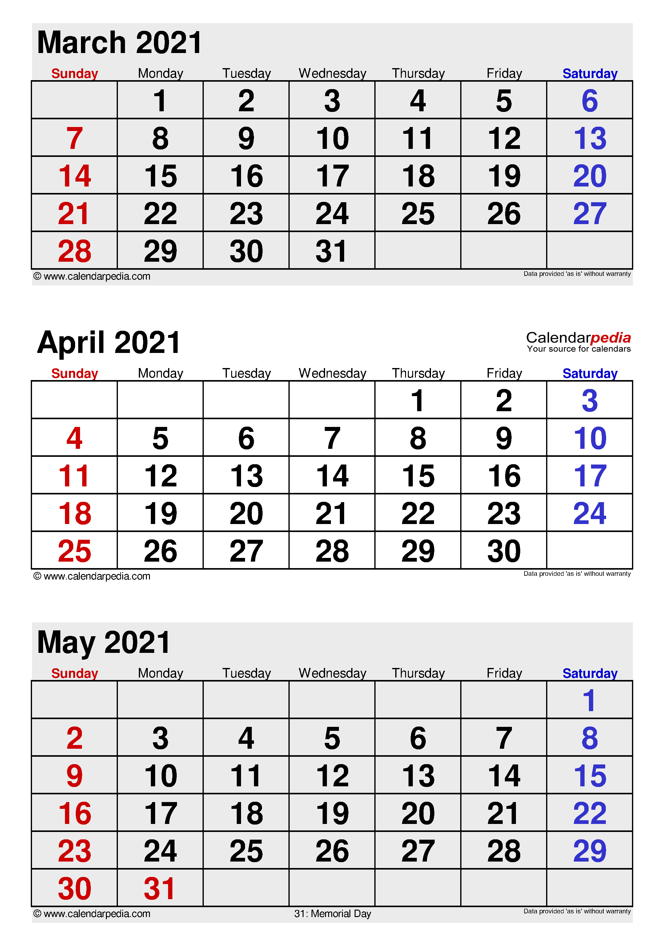 April 2021 Calendar Templates For Word Excel And PDF