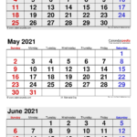 April May June 2021 Calendar