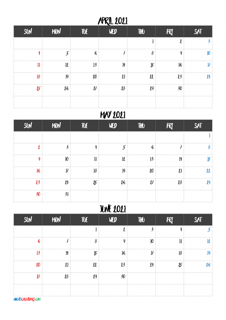 April May June 2021 Calendar Printable Template Code BnB1