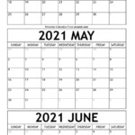 April To June Calendar 2021 Templates Time Management