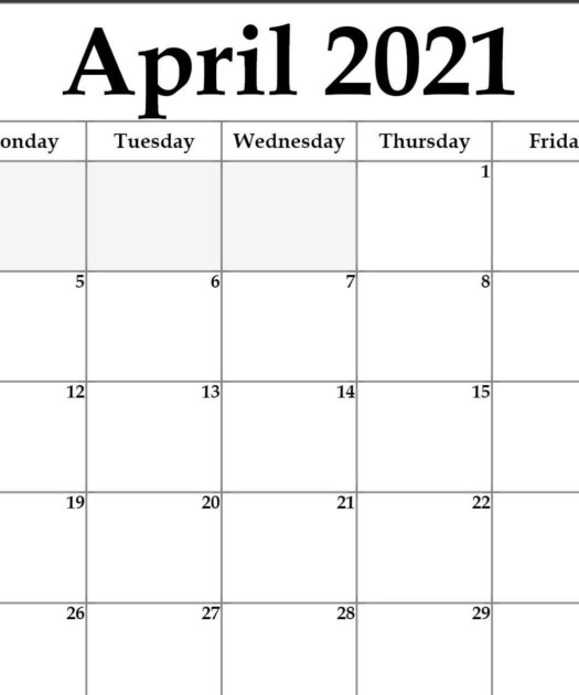 Blank April 2021 Calendar Template Monthly Planner
