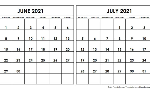 Blank June July 2021 Printable Calendar Archives Monday