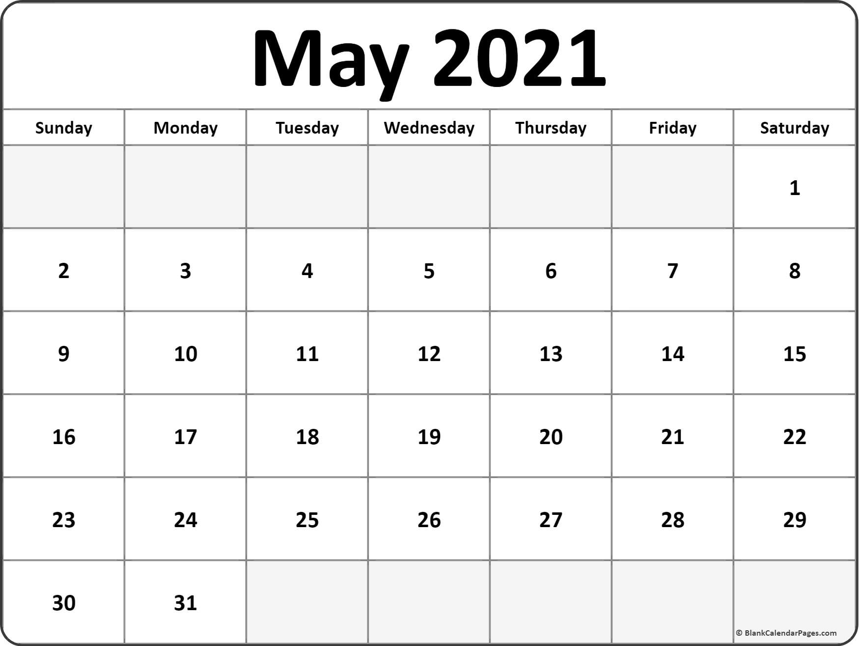 Cute 2021 Printable Blank Calendars 2021 Year Calendar