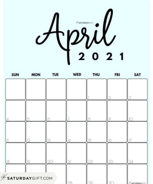 Cute Free Printable April 2021 Calendar SaturdayGift