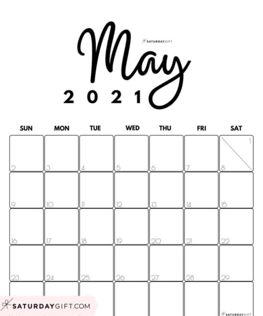 Cute Free Printable May 2021 Calendar SaturdayGift