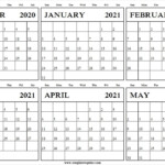 December 2020 To May 2021 Printable Calendar Blank